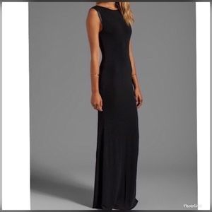 Alice + Olivia M leather trim gown dress open back